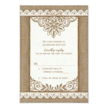 rustic burlap lace twine bow wedding rsvp reply invitations