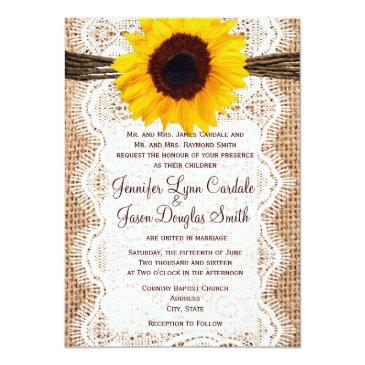 Small Rustic Burlap Lace Twine Sunflower Wedding Invites Front View