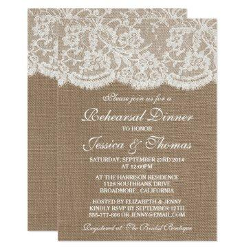 rustic burlap & lace wedding rehearsal dinner