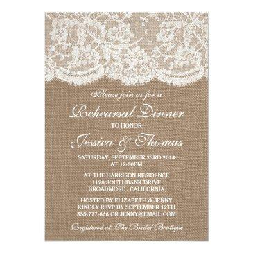 Small Rustic Burlap & Lace Wedding Rehearsal Dinner Invitation Front View