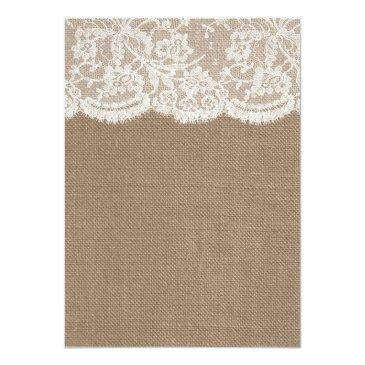Small Rustic Burlap & Lace Wedding Rehearsal Dinner Invitation Back View