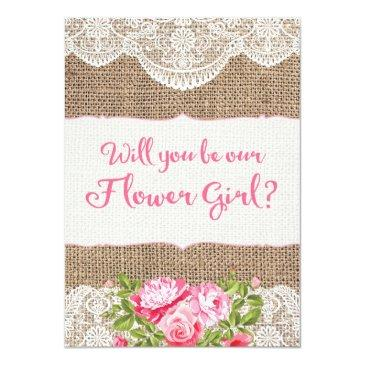 rustic burlap lace will you be my flower girl