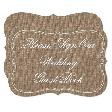 "rustic burlap ""please sign our wedding guest book"""