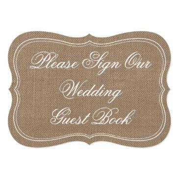"""Small Rustic Burlap """"please Sign Our Wedding Guest Book"""" Front View"""