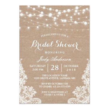 Small Rustic Burlap String Lights Lace Bridal Shower Invitation Front View