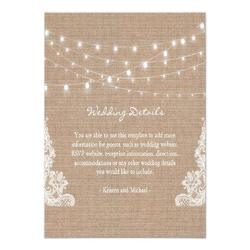 Small Rustic Burlap String Lights Lace Wedding Details Invitationss Front View