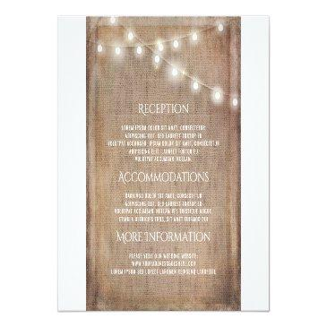 Small Rustic Burlap String Lights Wedding Information Front View