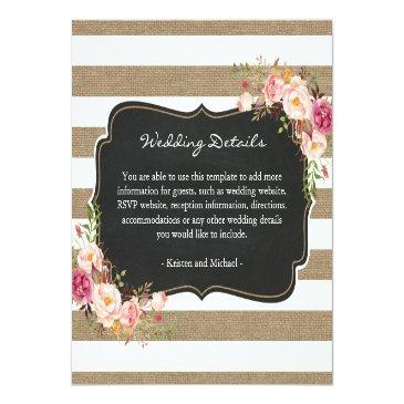 Small Rustic Burlap Stripes Floral Wedding Details Info Front View