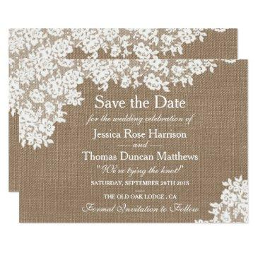 rustic burlap & vintage lace wedding save the date