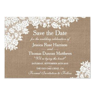 Small Rustic Burlap & Vintage Lace Wedding Save The Date Invitationss Front View