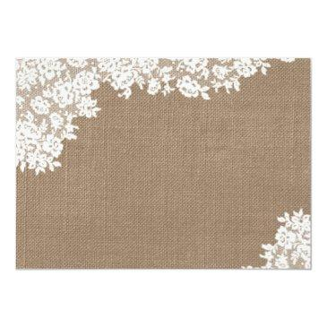 Small Rustic Burlap & Vintage Lace Wedding Save The Date Back View