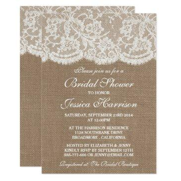 rustic burlap & vintage white lace bridal shower invitation