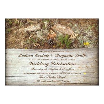 rustic camo and wood country wedding invitation