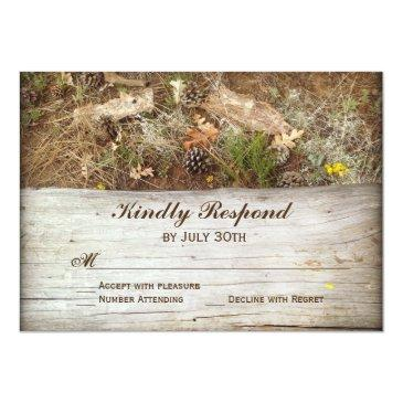 Small Rustic Camo And Wood Country Wedding Rsvp Invitation Front View