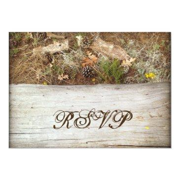 Small Rustic Camo And Wood Country Wedding Rsvp Invitation Back View