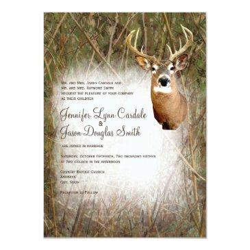 rustic camo hunting deer antlers wedding invites