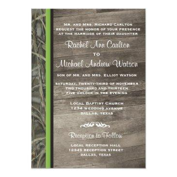 Small Rustic Camo Wedding Invitation Front View