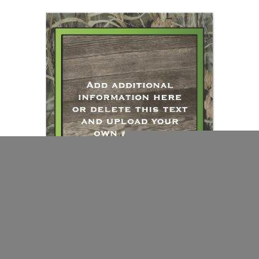 Small Rustic Camo Wedding Invitation Back View