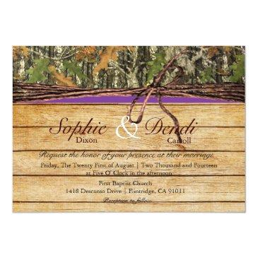 Small Rustic Camo Wood Wedding Invitation Front View