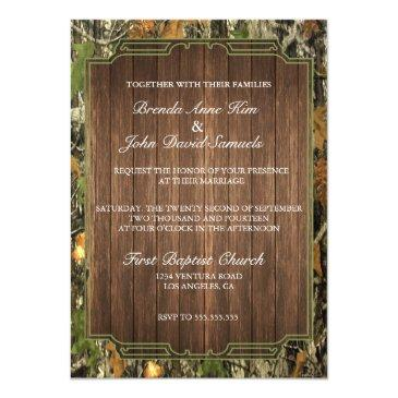 rustic camo wood wedding invitations