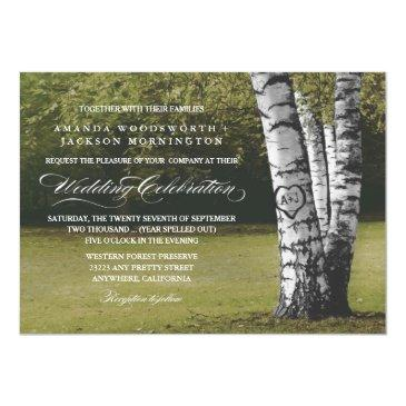 rustic carved heart birch tree wedding