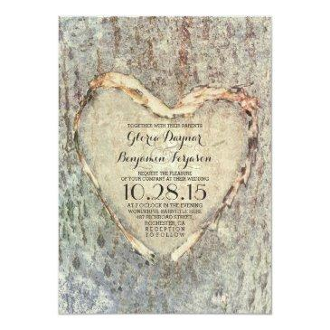 rustic carved heart tree vintage wedding