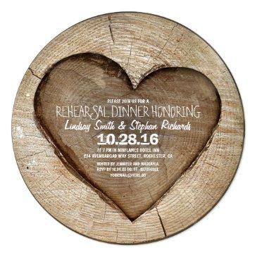 rustic carved tree wood heart rehearsal dinner