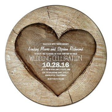 Small Rustic Carved Tree Wood Heart Wedding Front View