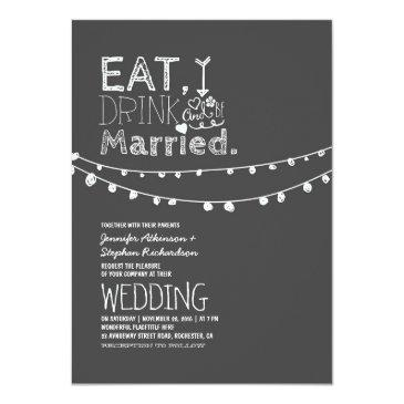 rustic chalkboard eat drink and be married wedding invitations