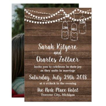 rustic charm mason jar string lights photo wedding invitation