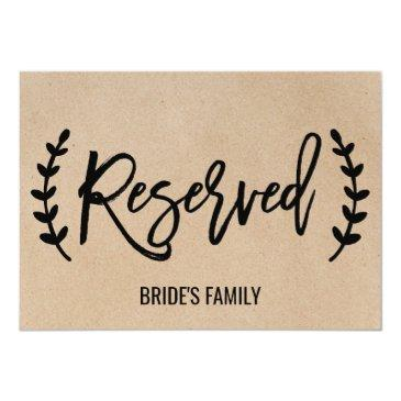 "rustic chic faux kraft calligraphy ""reserved"" sign invitations"