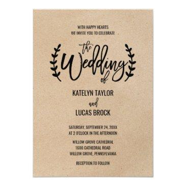 rustic chic faux kraft calligraphy wedding invitation