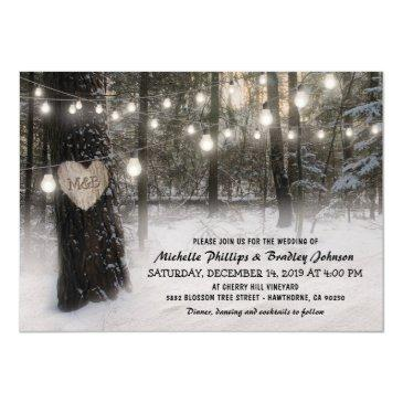 rustic christmas winter woodland wedding invitations