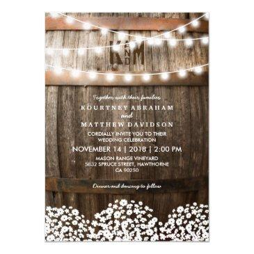 rustic country baby's breath string lights wedding invitations