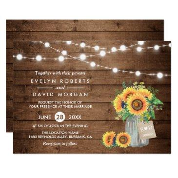 rustic country barn lights sunflowers wedding