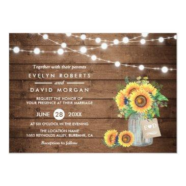 Small Rustic Country Barn Lights Sunflowers Wedding Front View