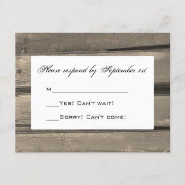 rustic country barn wood wedding rsvp