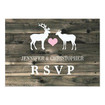 Small Rustic Country Buck And Doe Rsvp Announcement Front View