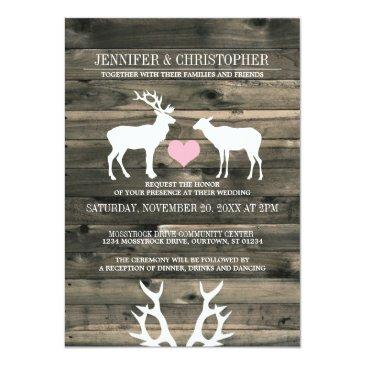 Small Rustic Country Buck And Doe Wedding Invitations Front View
