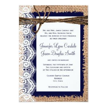 Small Rustic Country Burlap Lace Twine Wedding Invites Front View