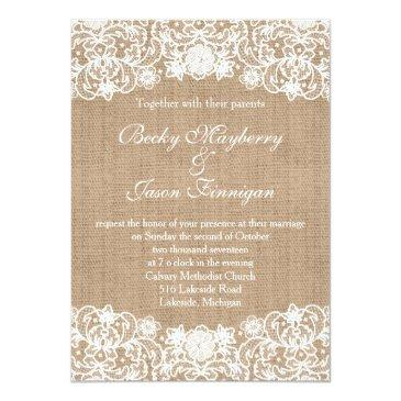 Small Rustic Country Burlap Lace Wedding Invites Front View