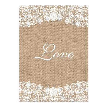 Small Rustic Country Burlap Lace Wedding Invites Back View
