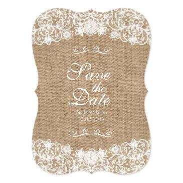 rustic country burlap lace wedding save-the-date