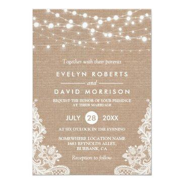 Small Rustic Country Burlap String Lights Lace Wedding Invitationss Front View