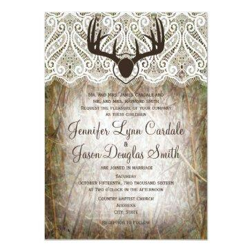 Small Rustic Country Camo Hunting Antlers Wedding Invite Front View