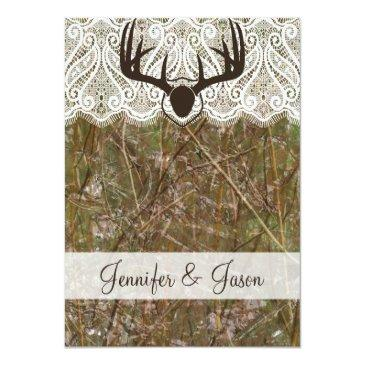 Small Rustic Country Camo Hunting Antlers Wedding Invite Back View