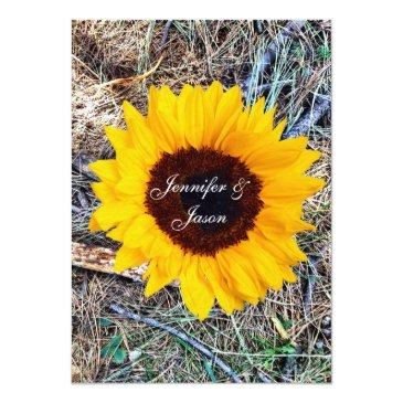 Small Rustic Country Camo Sunflower Wedding Invitationss Front View