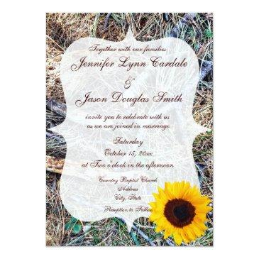 Small Rustic Country Camo Sunflower Wedding Invitationss Back View