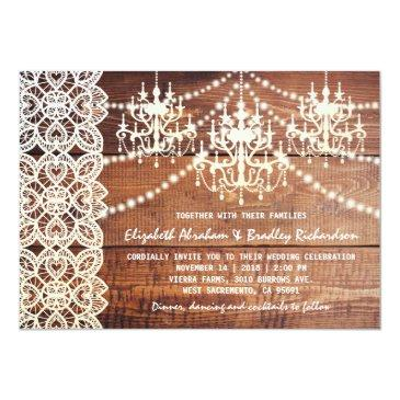 rustic country chandelier wedding | barn lace invitation