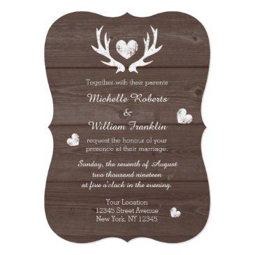 rustic country chic deer antler wedding invitations